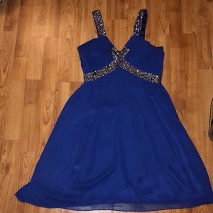 Royal blue with sequence cocktail dress